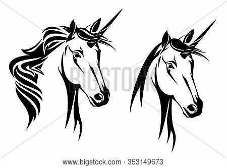 Unicorn Horse Head Portrait - Mythical Animal Black And White Vector Outline Design