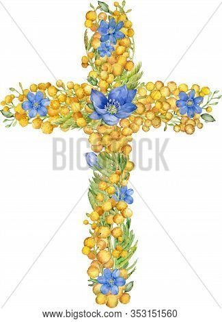 Watercolor Cross With Yellow And Blue Spring Flowers Isolated On White Background. Watercolor Easter