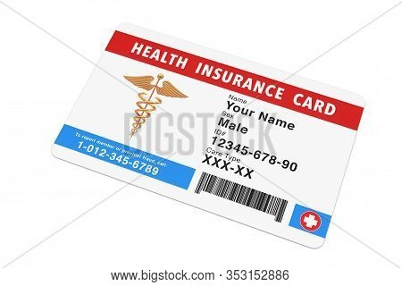 Health Insurance Medical Card Concept On A White Background. 3d Rendering
