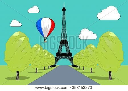 Travel To France Concept. Hot Air Balloon In Sky With French Flag Over Eiffel Tower In Sketch And To