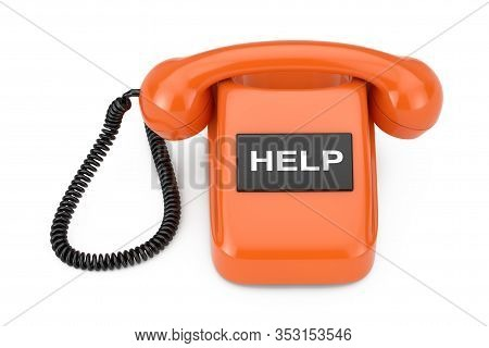 Vintage Styled Rotary Phone With Help Sign On A White Background. 3d Rendering