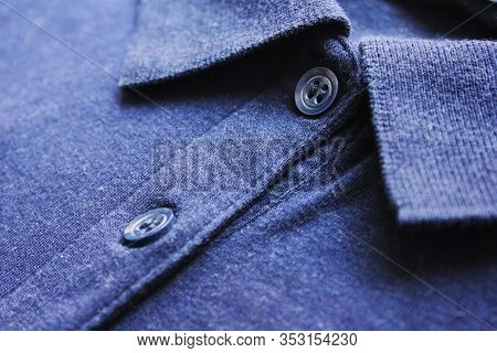 Blue Polo Shirt Collar Neck With Button Close Up View. Classic Stylish Simple Tee, Blue Color Button