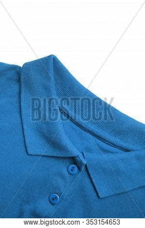 Shirt Detail Of Casual Azure Blue Colorful Top Isolated On White Background. Carolina Blue Color Clo