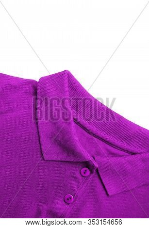 Purple Shirt Colorful Button-down Tee Top View. Casual Simple T-shirt On White Background, Violet Co