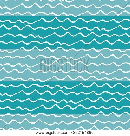 Wavy Lines Seamless Vector Pattern Background. Hand Drawn Uneven Doodle Style Dense Sea Waves Backdr