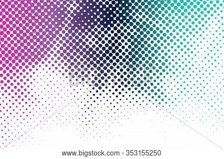 Halftone Color Abstract Background. Grunge Pop Art Dot Vector Texture. Colorful Dots Design Element.