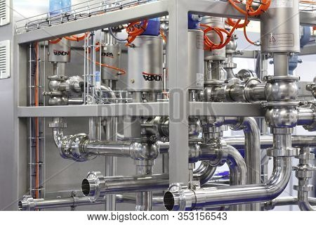 Moscow, Rf, 02.20.2020: Installation Of Centrifugal Separation And Pasteurization. Globe Valves In A