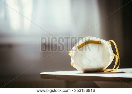 Breathing Mask Lying On A Table. Flue And Corona Season.