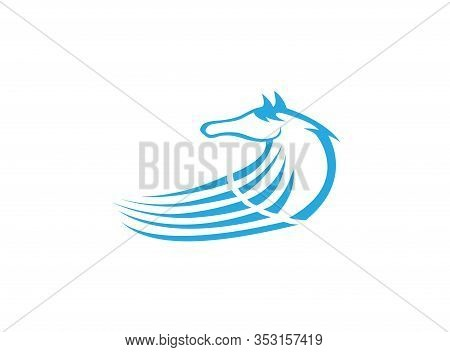 Horse Head And Steed Or Mare For Logo Design Illustration On White Background