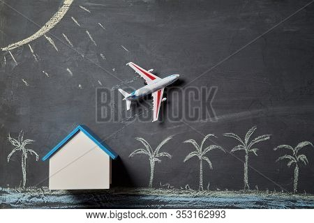 Booking Tickets Online. Airplane Reservation. Summer Holiday Concept. House Mockup With Copy Space.