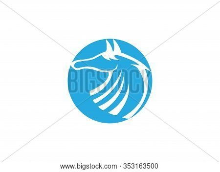 Horse Head In Circle Steed Or Mare For Logo Design Illustration On White Background