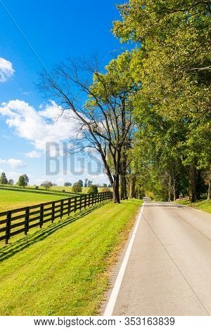 Coutryside Landscape. Country Road Along Horse Farms.