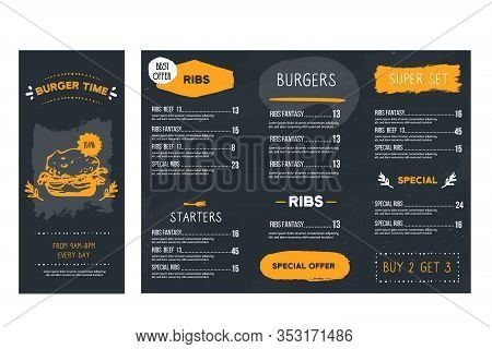 Vintage Hand Drawn Fast Food Menu Restaurant, Burger Template, American Hamburger Illustration, Broc