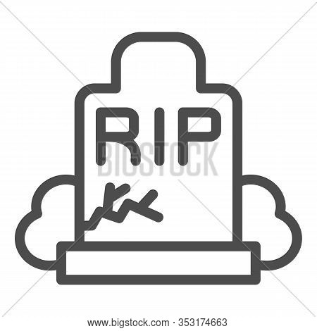 Gravestone Line Icon. Grave, Funeral Gravestone With Rip Sign And Crack. Halloween Party Vector Desi