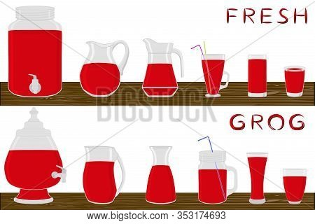 Illustration On Theme Big Kit Different Types Glassware, Grog In Jugs Various Size. Glassware Consis
