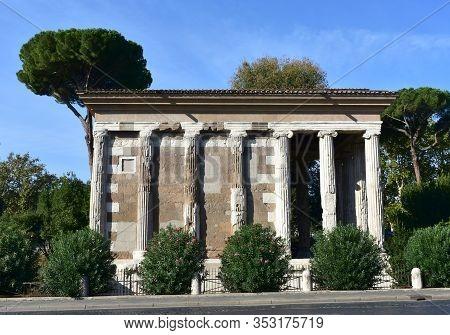 Temple Of Portunus (tempio Di Portuno). Ancient Classical Greek Style Roman Temple. Rome, Italy.