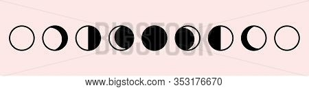 Moon Phases Astronomy Set Icon, Vector Illustration On The White Background