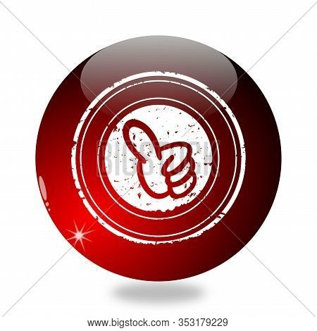 Billiard Ball With Raised Thumbs Up Sign On White Background