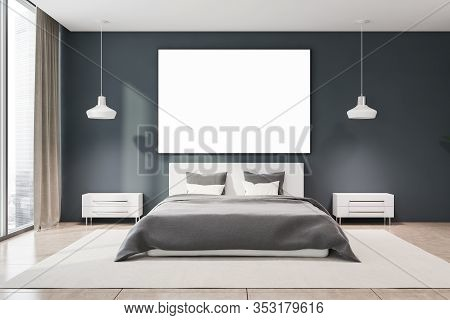 Interior Of Panoramic Master Bedroom With Grey Walls, Tiled Floor, Comfortable King Size Bed And Two