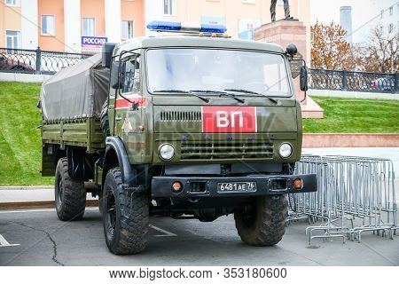 Ufa, Russia - October 10, 2019: Flatbed Truck Kamaz 4350 Mustang Of The Internal Troops Of Russia Pr