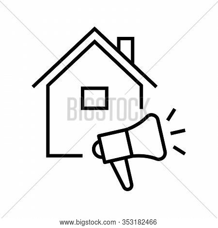 Listing For The House Line Icon, Concept Sign, Outline Vector Illustration, Linear Symbol.