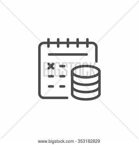 Recurring Payment Line Outline Icon Isolated On White. Calendar With Date Reminder To Online Pay. Or