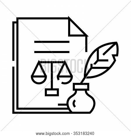 Judicial Document Line Icon, Concept Sign, Outline Vector Illustration, Linear Symbol.