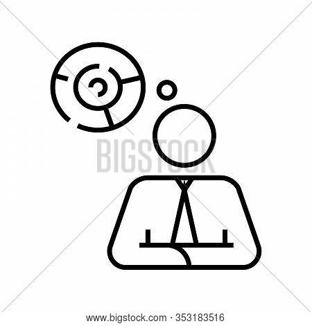 Individual Brainwork Line Icon, Concept Sign, Outline Vector Illustration, Linear Symbol.