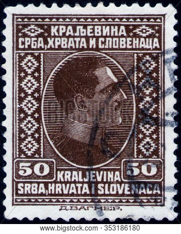 Saint Petersburg, Russia - February 01, 2020: Postage Stamp Issued In Kingdom Of Serbs, Croats And S