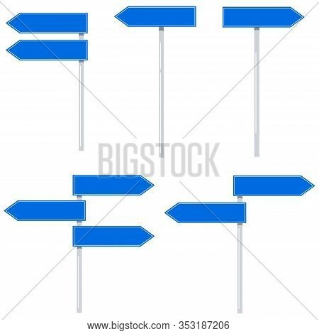 Road Arrow Shape Signs Vector Set Isolated On White Background. Flat Design Blue Color Empty Traffic