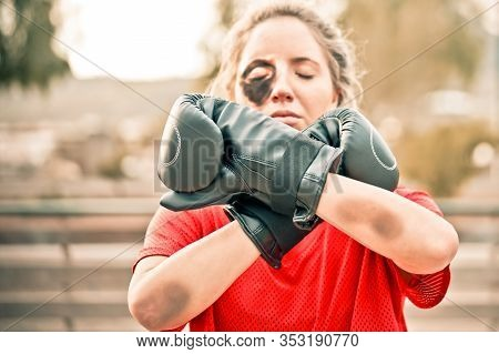 Female Activist With A Boxing Gloves, Demonstrating Violence On Women. Woman Protesting Against Dome