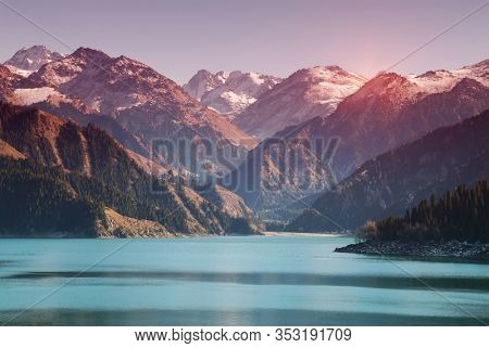 Heavenly Lake with moutains, Xinjiang, China
