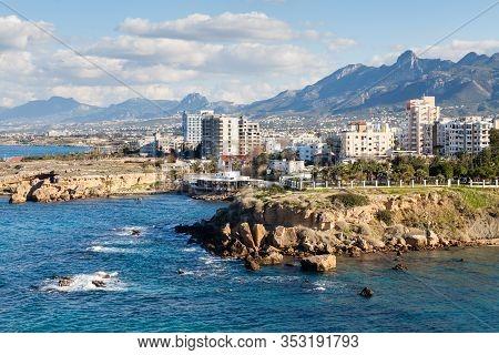 Kyrenia Coastline.  The Kyrenia Coastline In The Turkish Republic Of Northern Cyprus.