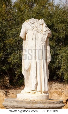 Salamis, Cyprus - January 28:  A Headless Sculpture Amongst The Ruins Of The Ancient Greek City Of S