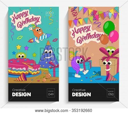 Bright Cartoon Illustrations With Funny Freaks. The Vector Is Suitable For Your Project, Animation,