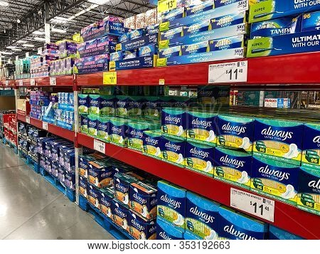 Orlando, Fl/usa-2/11/20:the Tampon And Always Feminine Hygiene Display Waiting For Customers To Purc