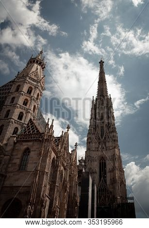 The Tower Of Stephansdom, The Big Cathedral In The City Center Of Viena, Austria