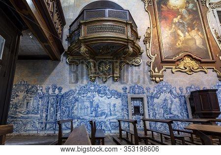 Lisbon - August 30, 2019: Detail Of The Left Handside Internal Wall Of The Church Od Sao Pedro De Al