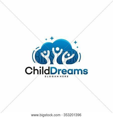 Cloud Dreams Logo Designs, Online Learning Logo Designs Vector, Kids Dream Logo, Child Dream Logo Te