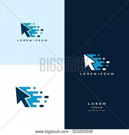Elegant Pixel Arrow Logo Template, Fast Cursor Logo Designs Concept, Pixel Cursor Logo Template