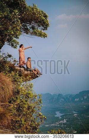 Khao Ngon Nak Nature Trail Krabi Thailand Or Dragon Crest, People Climbed To A Viewpoint On The Top
