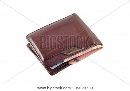 Wallet With Baht Isolated