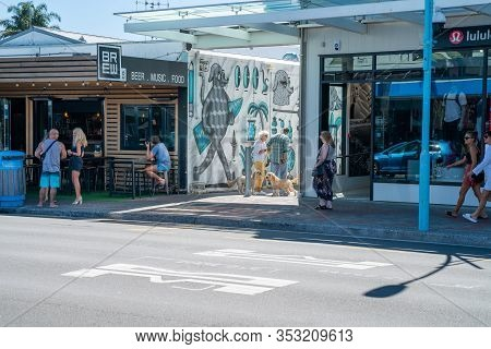 Tauranga New Zealand - February 26 2020; Mount Street Scene On Shady Side During Day With Retail Sho