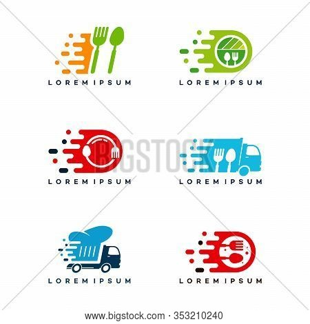 Set Of Fast Food Delivery Logo Designs Concept, Food Truck Logo Template, Food Icon Logo