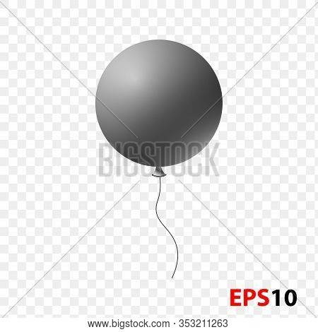 Ballon Realistic Black Isolated On A Transparent Background.design Element For Celebration, Kids Des