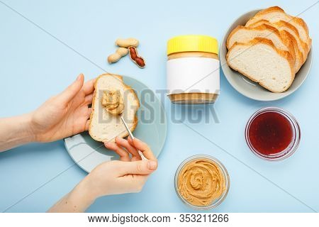 Mock Up For Peanut Butter, Creamy Peanut Paste.top View, Flat Lay Process Of Cooking Breakfast, Spre