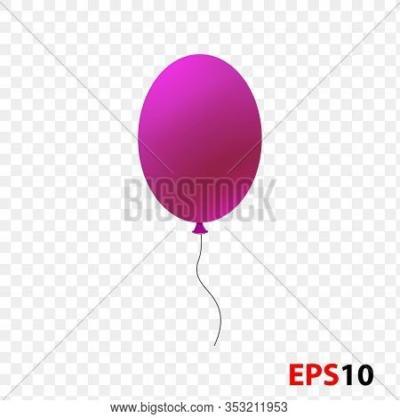 Ballon Realistic Pink Isolated On A Transparent Background.design Element For Celebration, Kids Desi