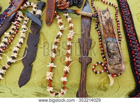 Attributes Of A Shaman (healer) For The Ceremony Of Purification And Healing: Herbs And Tree Branche