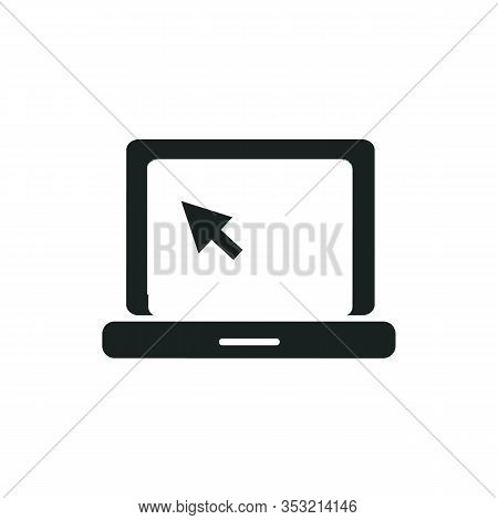 Laptop Screen Icon With Click Icon Inside Is Isolated On White Background. Simple Sign Of Laptop Com