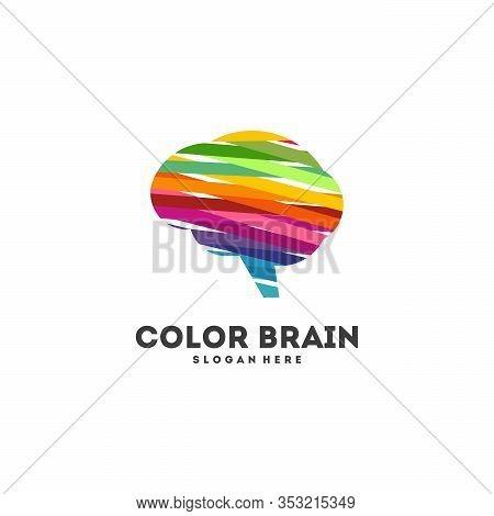 Colorful Brain Logo Designs Concept Vector, Education Brain Logo Designs Icon